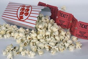 Popcorn spilled with movie tickets from Warriewood cinema